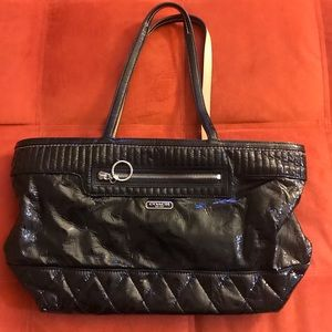 Coach black quilted patent leather tote